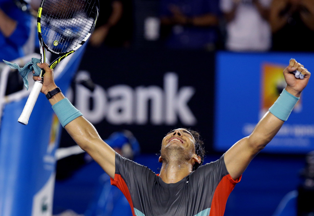 Rafael Nadal celebrates his win over Gael Monfils during their third-round match at the Australian Open on Saturday night in Melbourne, Australia.