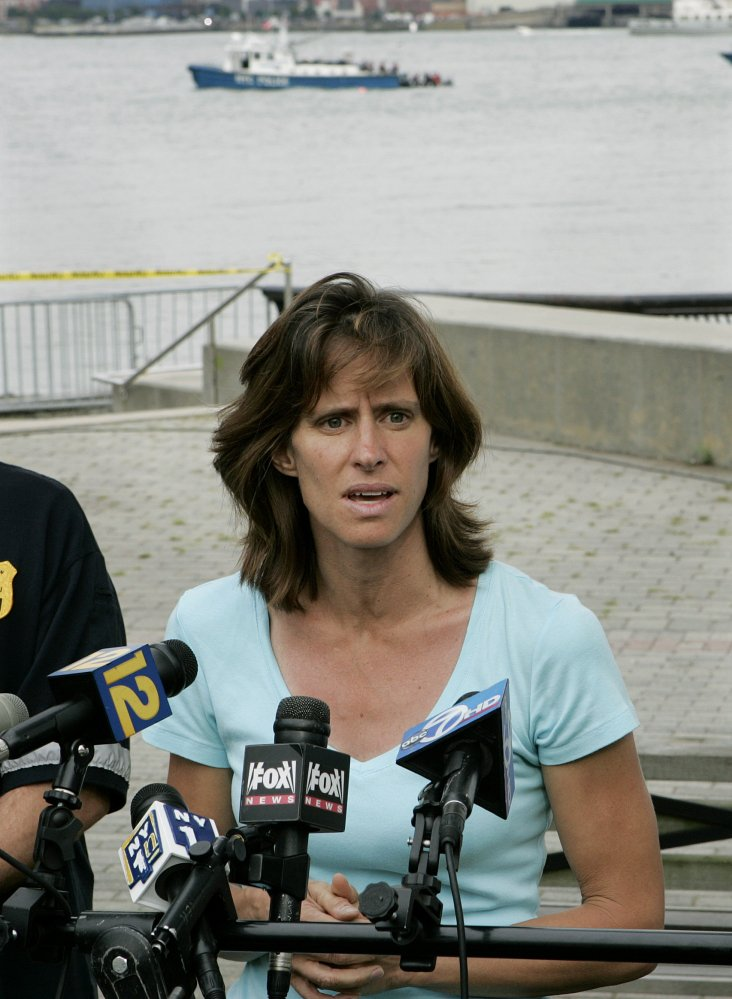 Hoboken Mayor, Dawn Zimmer speaks to the media in this file photo as she stands near the Hudson River in Hoboken.