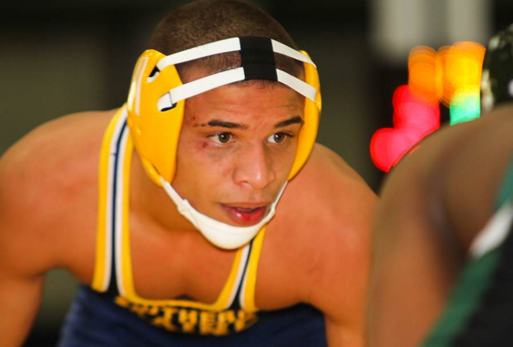Contributed photo QUICK ADJUSTMENT: Mt. Blue High School graduate Khalil Newbill is of to a fast start for the University of Southern Maine wrestling team. Newbill is 19-4 as a freshman.