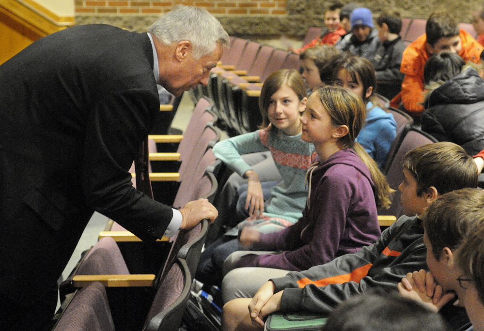 Staff photo by Andy Molloy Congressman Mike Michaud speaks with Hall-Dale High School Middle School students Tuesday during a question and answer session at the Farmingdale school.