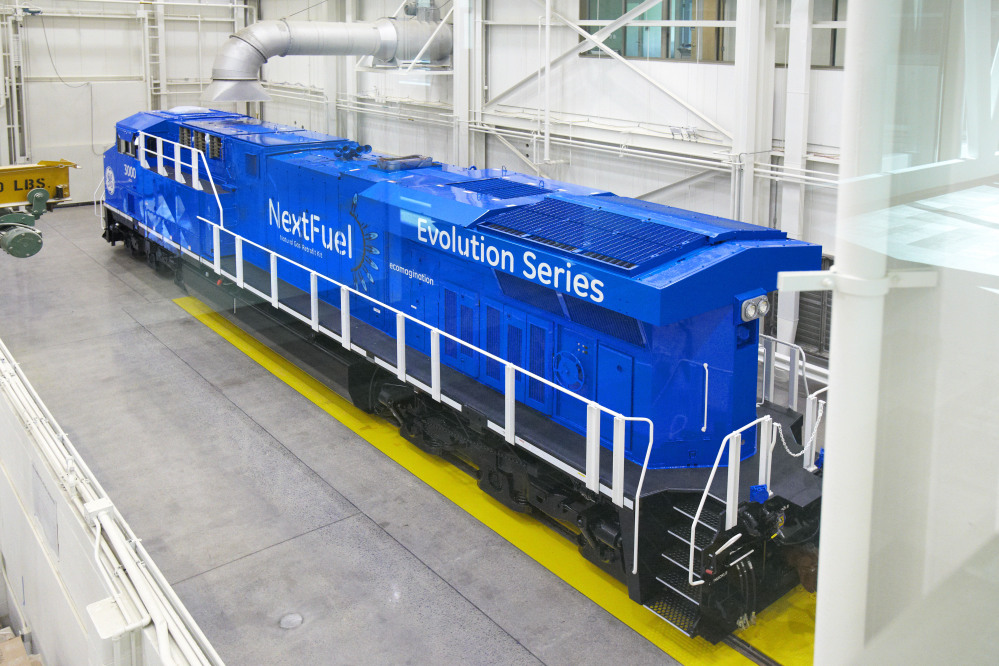 An experimental natural gas locomotive in Erie, Pa.