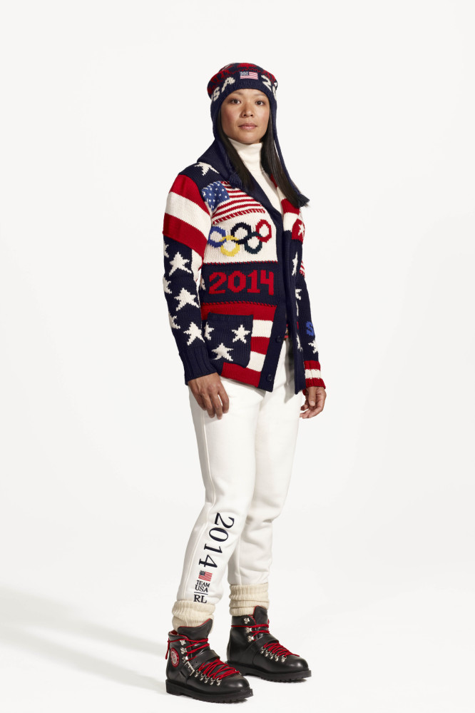 American Olympic ice hockey player Julie Chu wears the official uniform for Team USA. Every article of clothing made by Ralph Lauren for the U.S. Winter Olympic athletes in Sochi, including their opening and closing ceremony uniforms and their Olympic Village gear, has been made by American craftsmen and manufacturers.