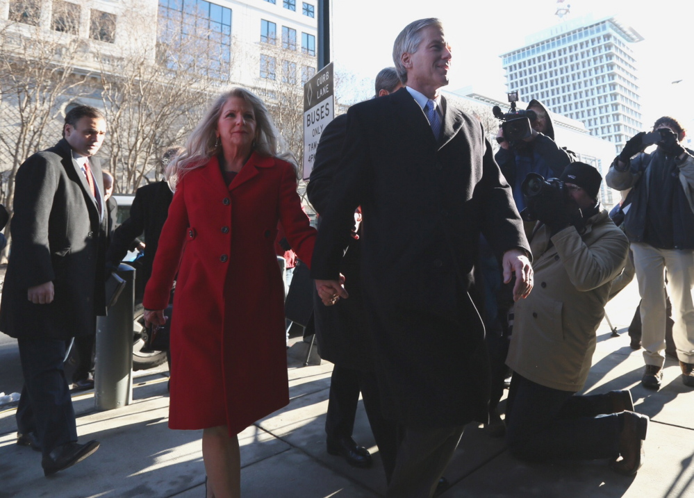 Former Virginia Gov. Bob McDonnell and his wife Maureen arrive at the U.S. District Court in Richmond on Friday their bond hearing and arraignment on federal corruption charges.