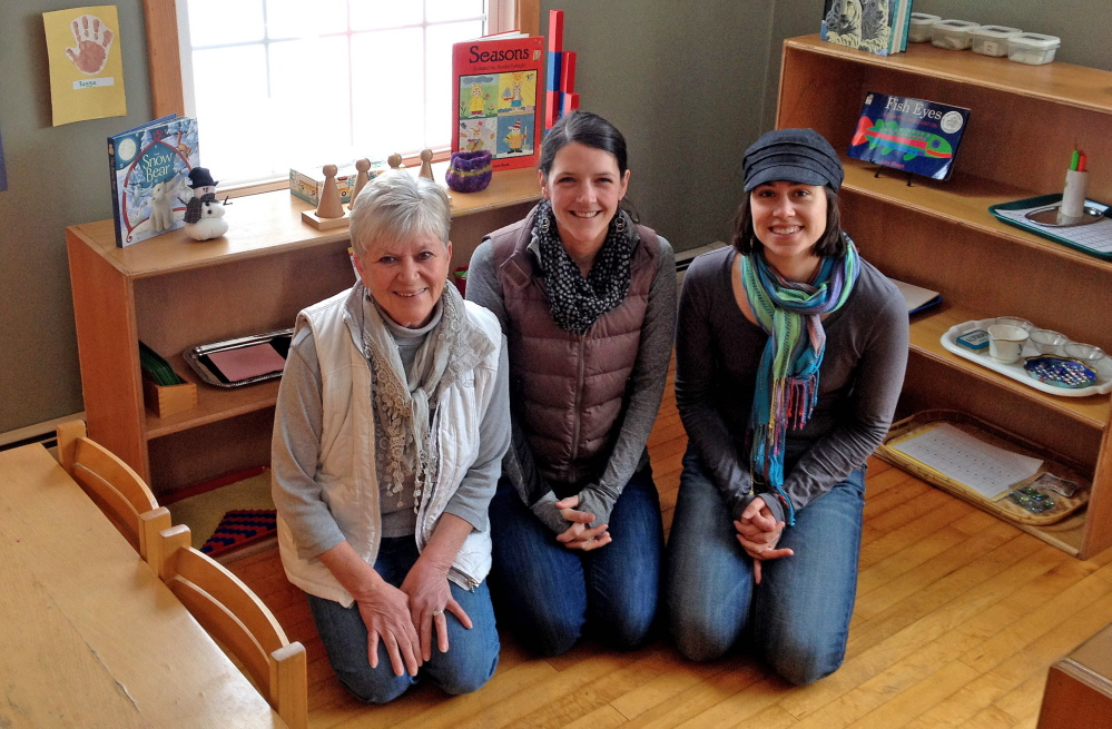 Carrying on: Friends of Samantha Wright remember her while gathered at the Maine Mountain Children's House, which Wright founded. From left to right is Wright's friend Kate Hatfield, interim director Bethany Mahar and preschool board member Polly MacMichael.