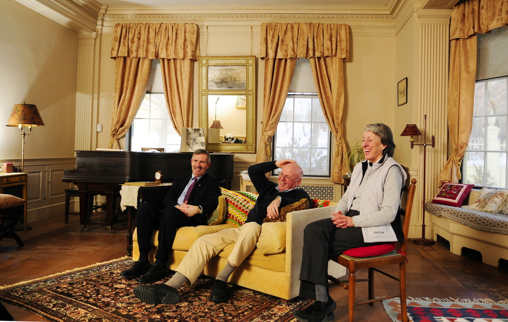 Fulfilling wishes: Elsie & William Viles Foundation Treasurer Mark Johnston, left, President Daniel Wathen and Executive Director Patsy West laugh during an interview on Thursday in the Daniel Cony Weston House on Stone Street in Augusta.