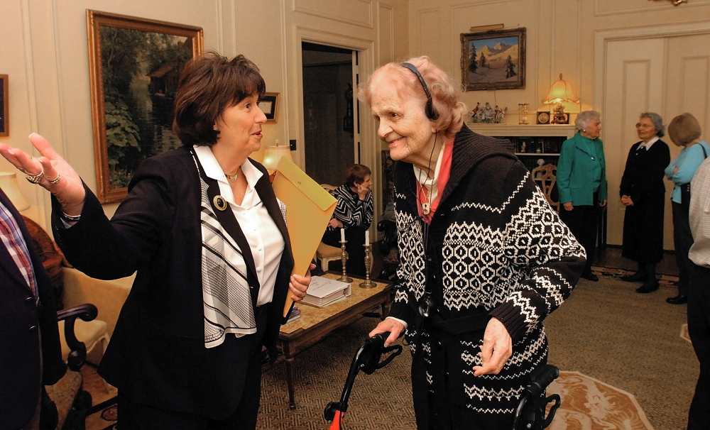 Philanthropist Elsie Viles, 92, right, chats with Rep. Patsy Crockett, D-Augusta, in 2007 prior to receiving a legislative sentiment at her Stone Street home in Augusta.