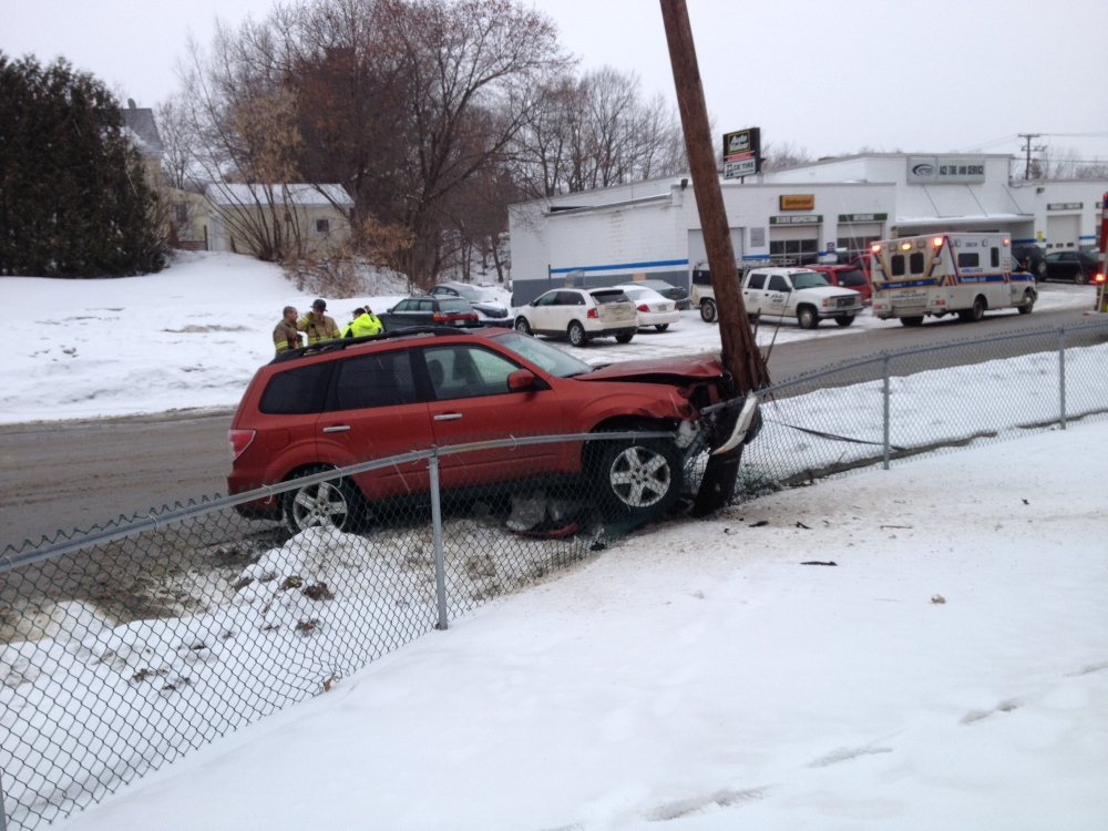 crash: An SUV crashed into a utility pole Monday morning near the corner of Drummond Avenue and Oak Street.