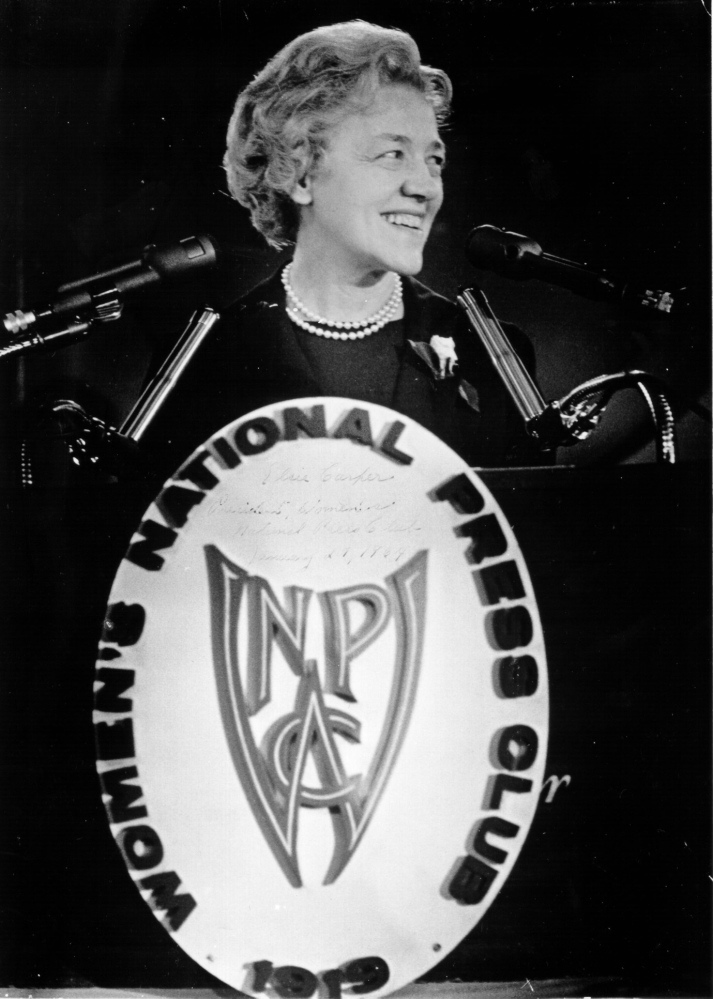 Sen. Margaret Chase Smith of Skowhegan announces her candidacy for president of the United States on Jan. 27, 1964, and later that year became the first woman to be placed in nomination by a major political party at its national convention. Her announcement was made before the National Women's Press Club in Washington, D.C.