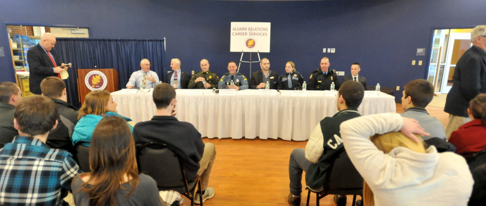LAW ENFORCEMENT CAREERS: Officials from across the criminal justice industry including the FBI, Maine Warden Service and director of surveillance for Hollywood Casinos gathered at Thomas College in Waterville Tuesday for a panel discussion about career opportunities.