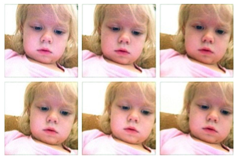 This screen grab shows a photo collage provided by Brandi Koskie of her daughter, Paisley, 3, in selfies that Paisley shot on her mother's phone in an unsupervised moment at her Wichita, Kan., home. An increasing number of parents of toddlers are finding their tech-savvy 2- and 3-year-old kids are obsessed with selfies.