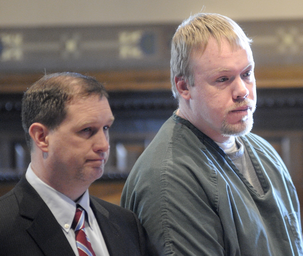 PLEADING NOT GUILTY: Courtney Shea of Vassalboro entered a plea of not guilty to a charge of murder Tuesday morning with his attorney, Brad Grant, in Kennebec County Superior Court. The remains of Thomas Namer, 69, were discovered in November 2013 outside an abandoned trailer next to the Vassalboro home Shea shared with his family.