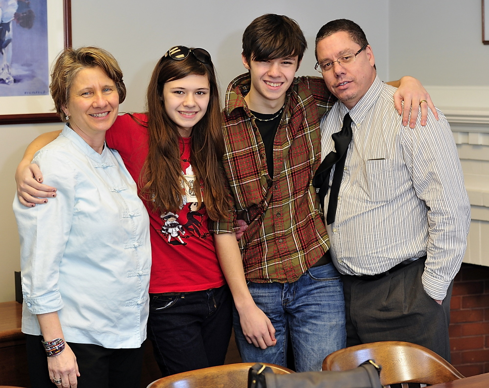 Transgender student Nicole Maines, now 16, and her family on the day of a historic Maine supreme court ruling.
