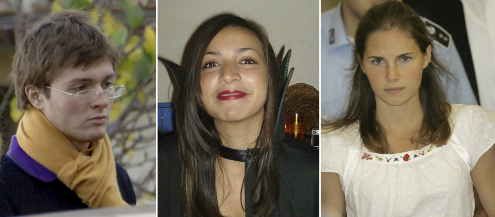 This combination of photos shows, from left: Italian student Raffael Sollecito; slain 21-year-old British woman Meredith Kercher; and her American roommate Amanda Knox. A Florence appeals panel designated by Italy's supreme court reinstated Knox's murder conviction Thursday.