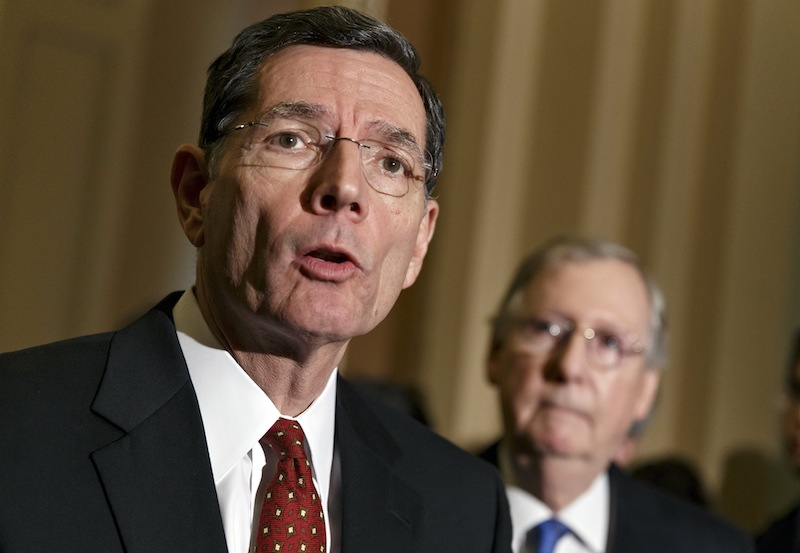 Sen. John Barrasso, R-Wyo., the Republican Policy Committee chairman, joins Senate Minority Leader Mitch McConnell, R-Ky., right, in criticizing Senate Democrats following a procedural vote on legislation to renew jobless benefits for the long-term unemployed, at the Capitol in Washington, Tuesday, Jan. 07, 2014. Sen. McConnell said that Senate Majority Leader Harry Reid, D-Nev., is almost entirely responsible for making the Senate dysfunctional.