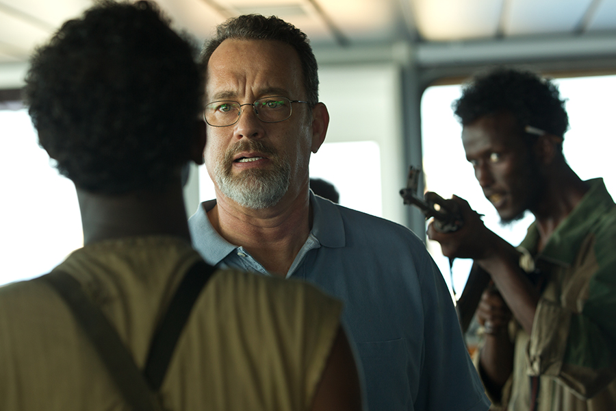 Tom Hanks, center, in a scene from