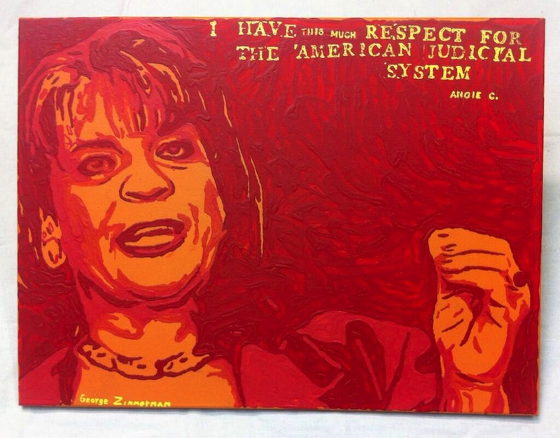 "This undated file photo shows a painting by George Zimmerman, portraying Florida State Attorney Angela Corey, the special prosecutor who charged him with second-degree murder in the 2012 shooting death of 17-year-old Trayvon Martin. Zimmerman's brother, Robert Zimmerman Jr., posted a photo of the painting, titled ""Angie"", on Twitter on Wednesday."