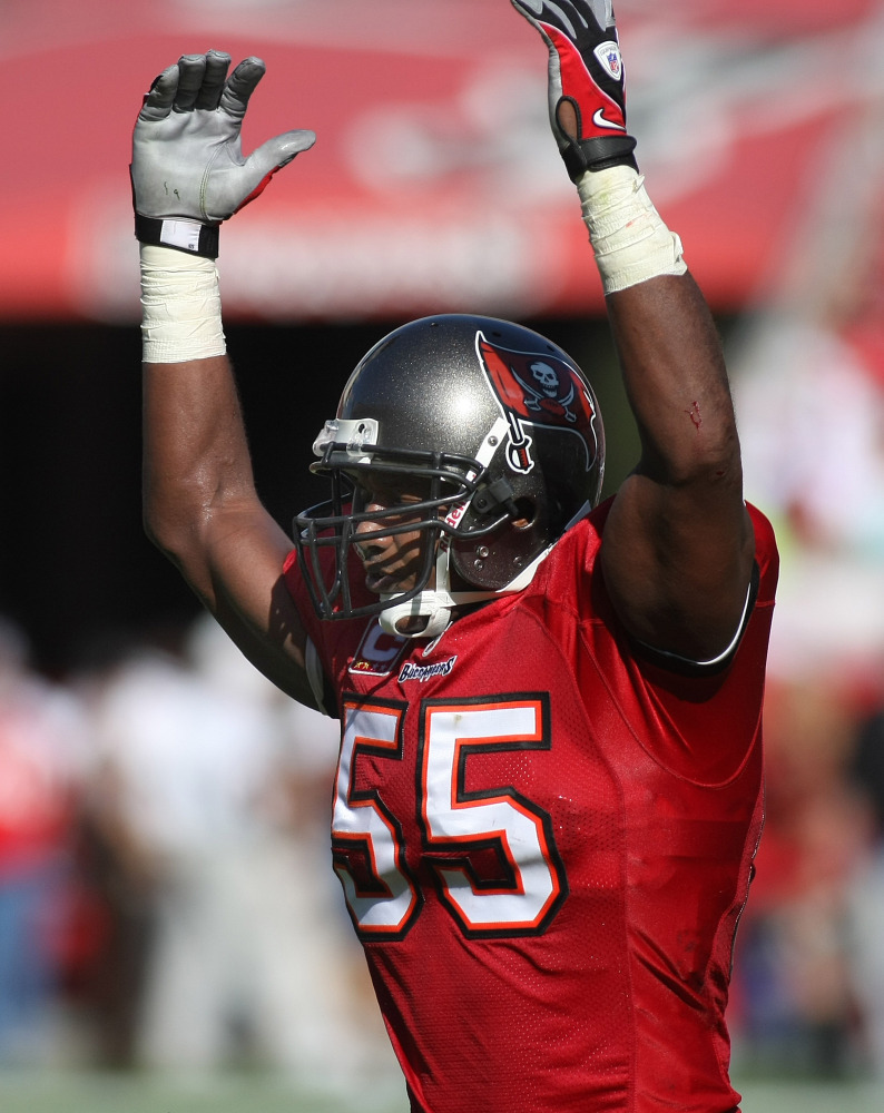 Tampa Bay Buccaneers linebacker Derrick Brooks reacts during an NFL football game against the Oakland Raiders in Tampa, Fla. in 2008.