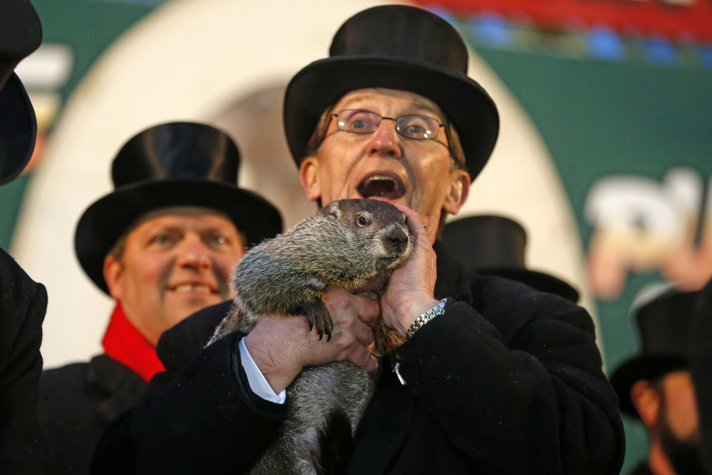 Punxsutawney Phil is held by Ron Ploucha after emerging from his burrow Sunday on Gobblers Knob in Punxsutawney, Pa., to see his shadow and forecast six more weeks of winter weather.