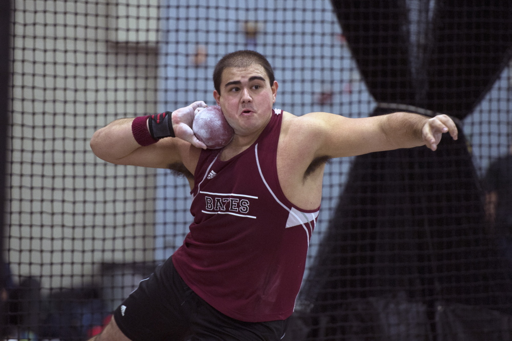 Nick Margitza '16 competes in the shot put at the New England Division III track and field championship on February 16, 2013.