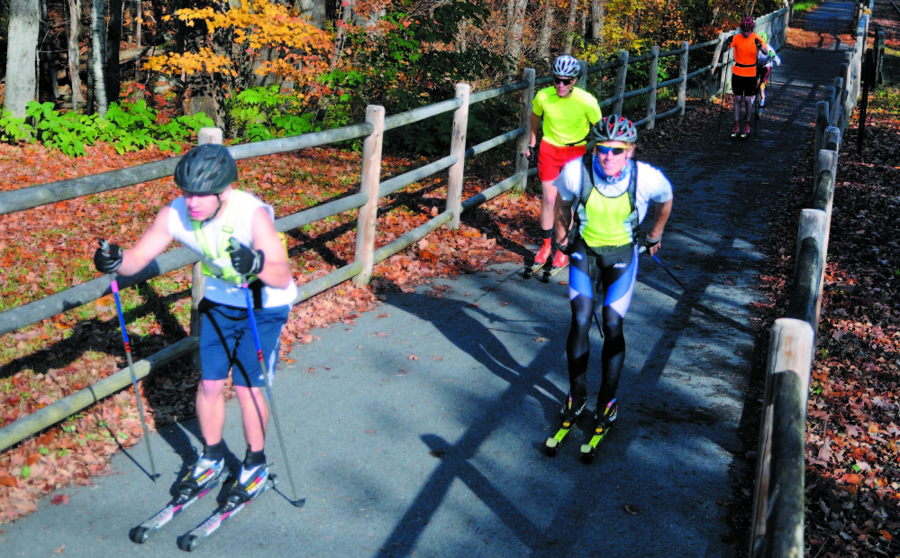 INTERRUPTED: The Kennebec River Rail Trail in Hallowell is a popular spot for walkers, joggers, bikers and inline skaters, and a city committee is recommending improvements to the trail to connect one section with the other.