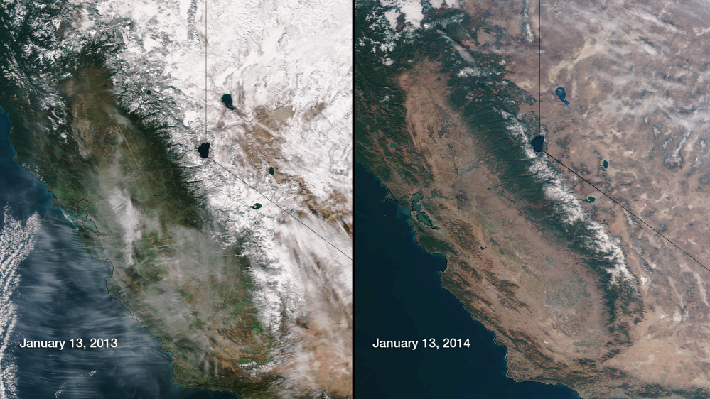 This image provided by NOAA compares Jan. 13, 2013, and Jan. 13, 2014, snow cover in Northern California and Nevada as seen by the Suomi NPP satellite. California is experiencing extreme drought in more than 62 percent of the state.