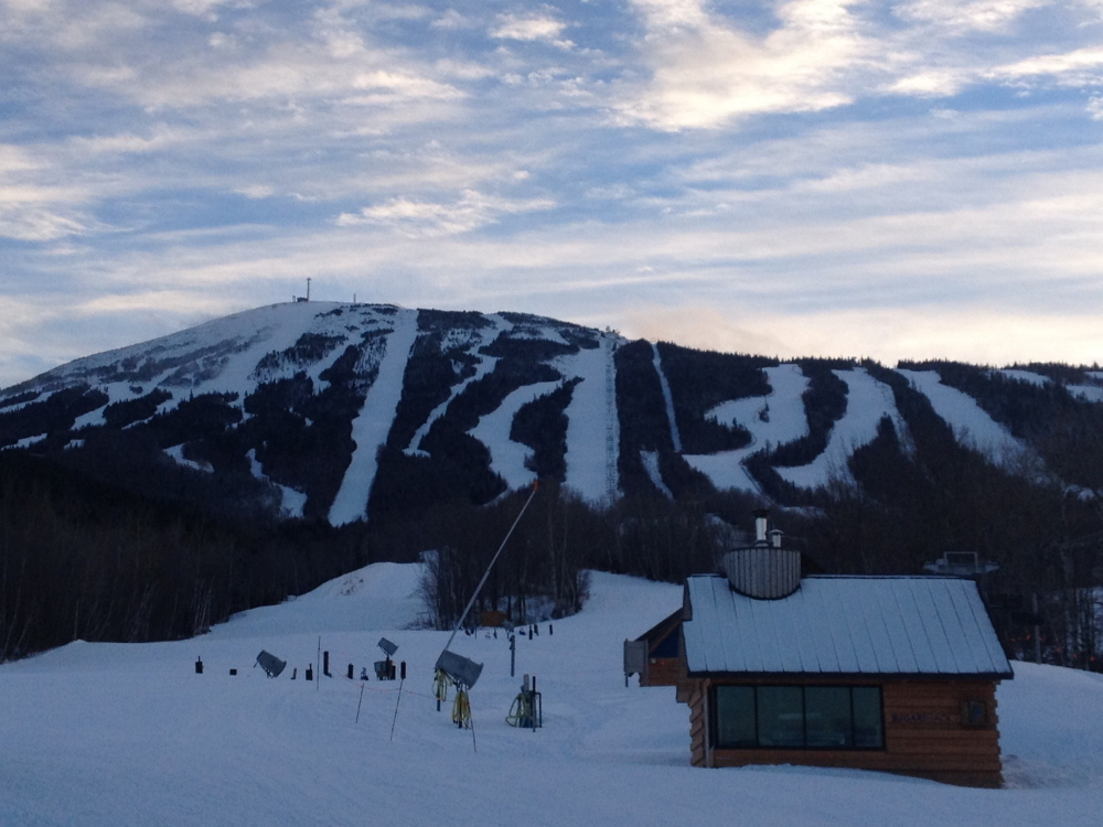MOUNTAIN DEATH: Sugarloaf Mountain,seen from the base lodge Tuesday afternoon. Husson University student Stephen Colvin died on Hayburner trail earlier in the day.