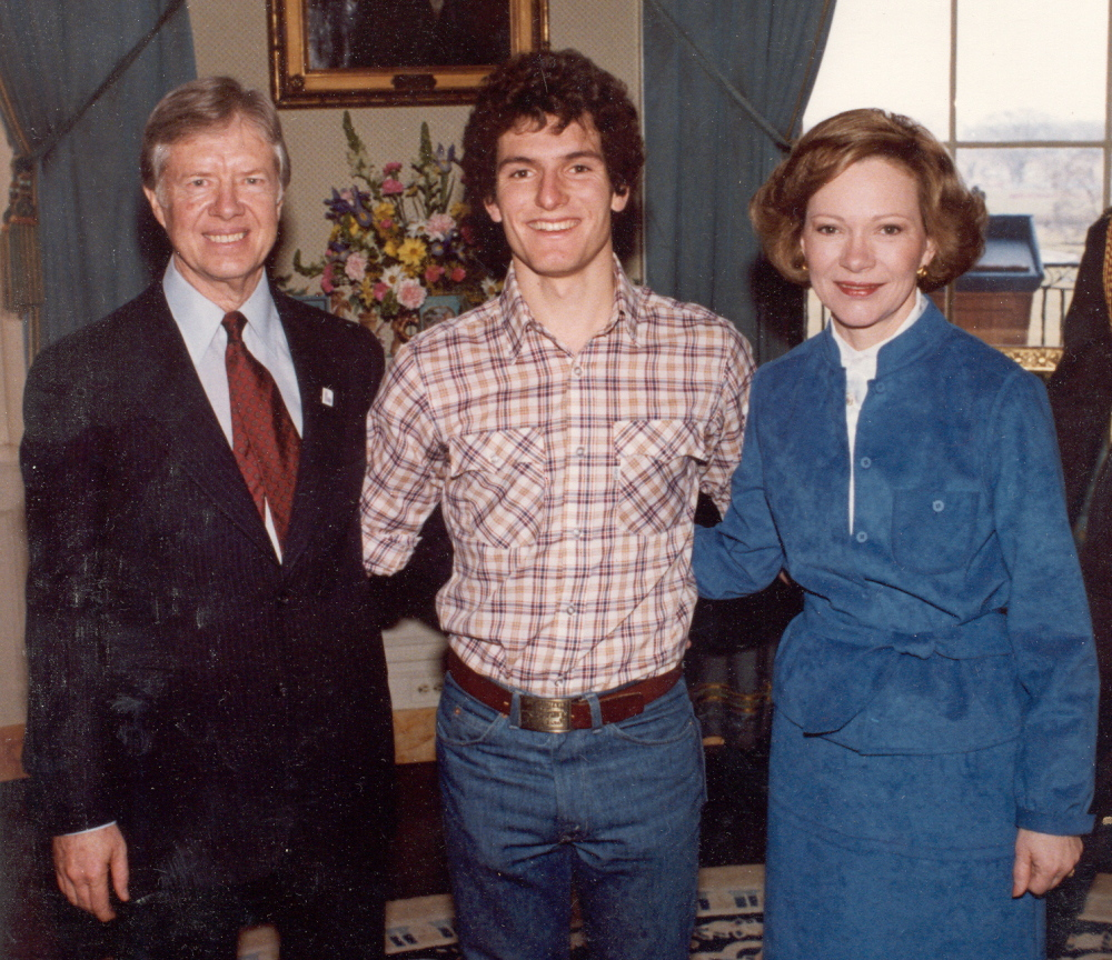 Farmington native Dan Simoneau, shown with President Jimmy Carter and first lady Rosalynn Carter, carried Maine's Nordic torch in 1984 in Sarajevo and in 1988 in Calgary.