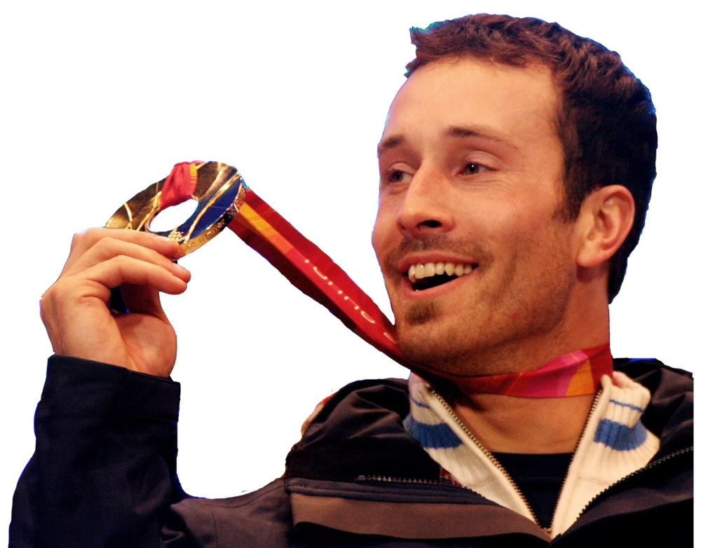 Seth Wescott, who grew up in Farmington, with his gold medal from Turin, Italy, in 2006.