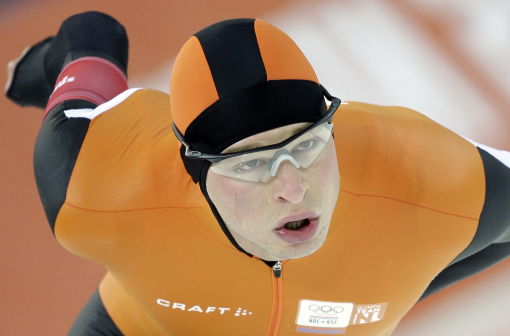 Sven Kramer of the Netherlands skates on his way to an Olympic record in the men's 5,000-meter speedskating race at the Adler Arena Skating Center during the 2014 Winter Olympics in Sochi, Russia on Saturday.