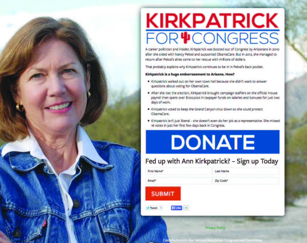 "A screenshot shows the AnnKirkpatrick.com website created by Republicans that appears to support the Democratic congresswoman in her campaign for re-election but in the fine print describes her as ""a huge embarrassment to Arizona."" Republicans have made nearly 20 such websites that are being denounced as deceptive by Democrats."