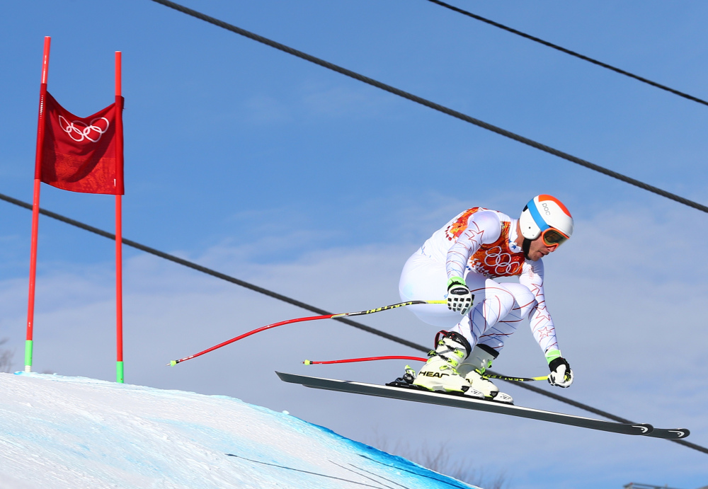 United States' Bode Miller jumps during a men's downhill training run for the Sochi 2014 Winter Olympics on Saturday in Krasnaya Polyana, Russia.