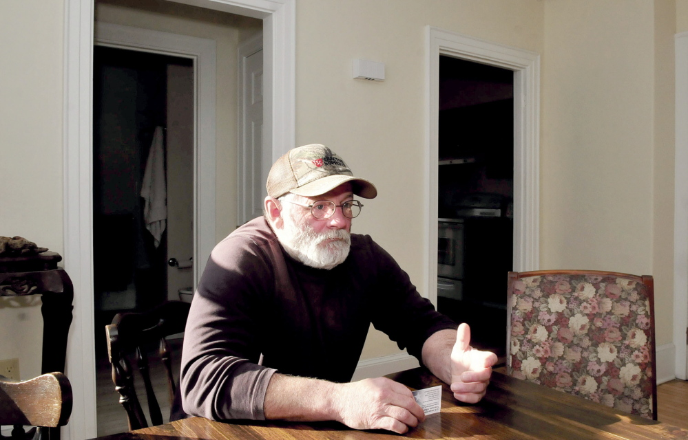 SHELTER: Veteran and former homeless person Steve McFarland speaks about the factors in his life that led him to take part in living in one of three housing units that provide shelter to veterans and adults with disabilities in Waterville.