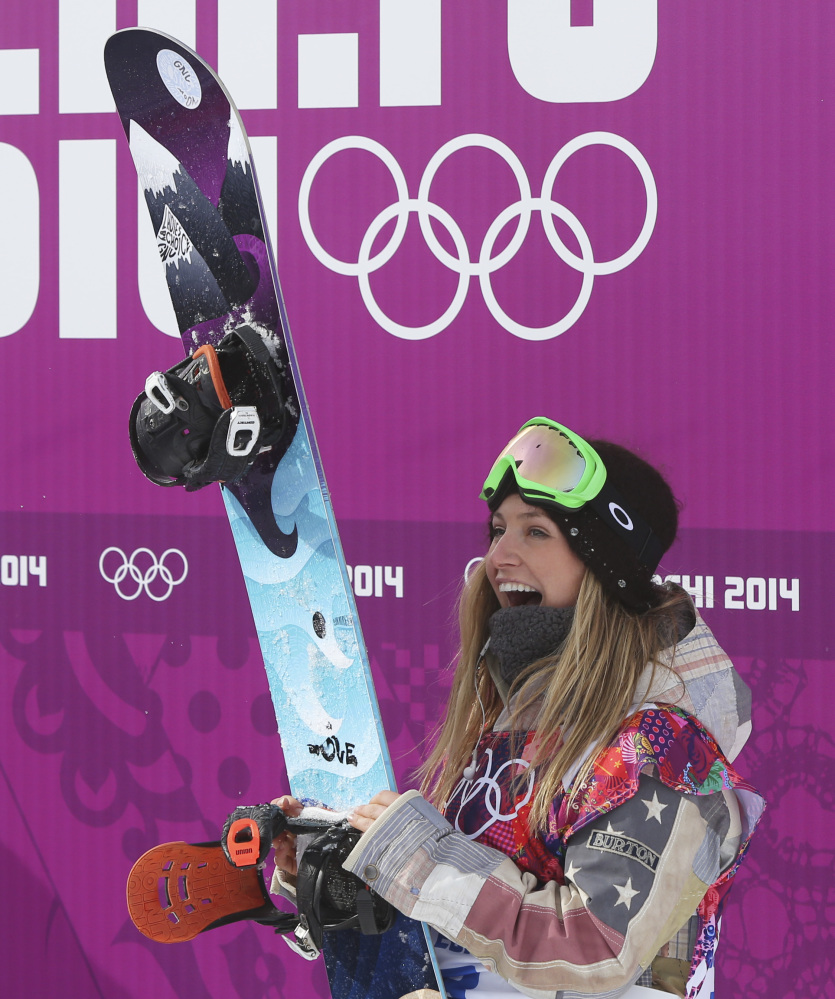 Jamie Anderson of the United States celebrates after winning the women's snowboard slopestyle final on Sunday