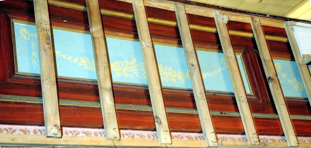 Staff photo by Joe Phelan The Colonial Theater in Augusta still has old wood framed painted decorative panels in the balcony seen in this 2009 file photo.