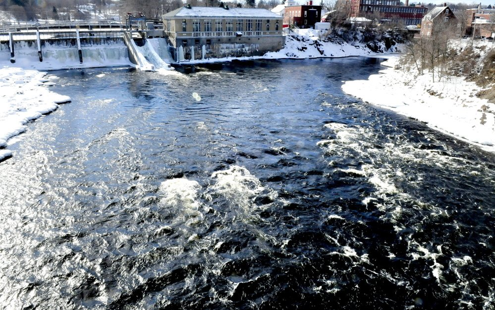WATER WORKS: Fast water in the Kennebec River flows at the beginning of the Kennebec Gorge in Skowhegan as seen from the walking bridge looking upriver from where the Run of River park would be.