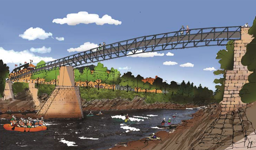 RUN OF RIVER: An artist's rendering shows how the kayak course at the poroposed Run of River park in Kennebec Gorge in Skowhegan would look.