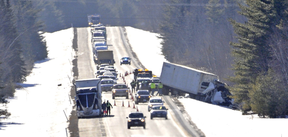 CRASH: Two tractor-trailers collided on northbound Interstate 95 near mile marker 135 in Benton on Wednesday. One driver was injured.