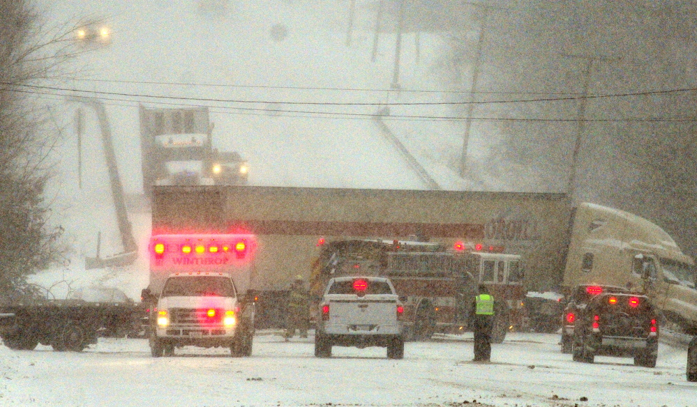ACCIDENT: A jackknifed tractor-trailer blocks both lanes of U.S. Route 202 on Thursday following a collision with a car. One person was taken to the hospital.