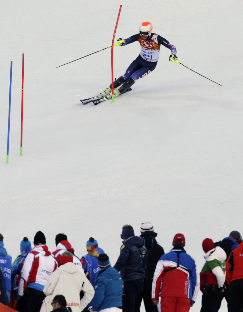 United States' Bode Miller nears the finish of the slalom portion in the men's super-combined.