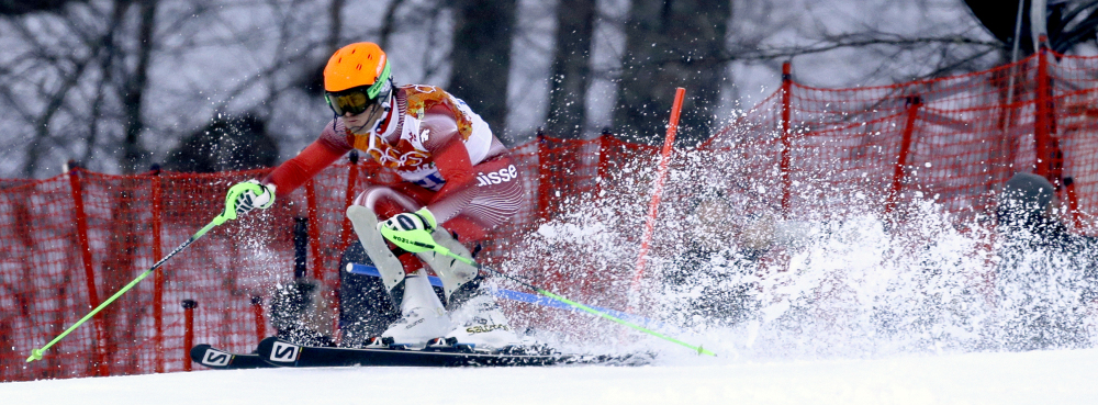 Switzerland's Sandro Viletta nears the finish in the slalom portion of the men's super-combined to win the gold medal at the Sochi 2014 Winter Olympics Friday.