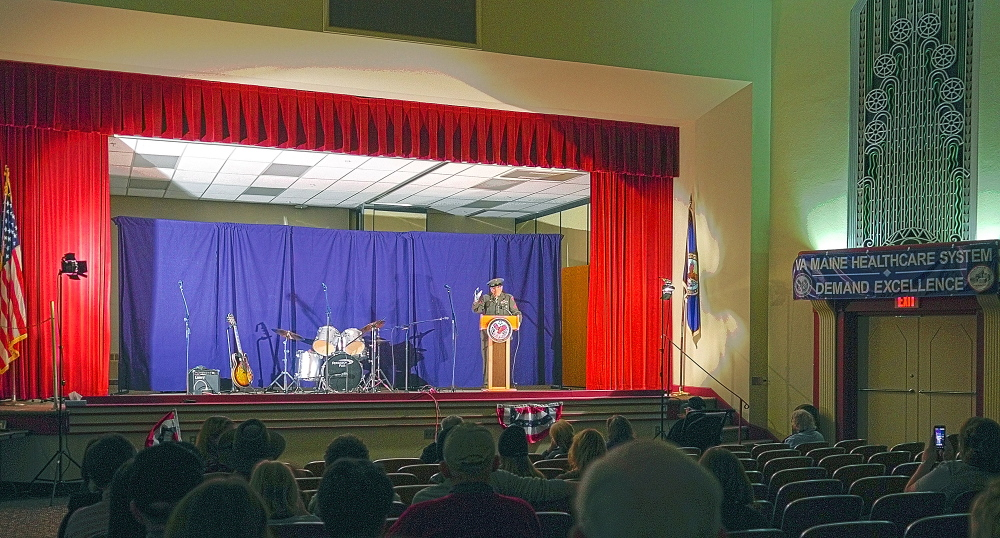 Nonagenarian poet: Leroy Peasley performs during the 2014 Maine Veterans Creative Arts Festival on Saturday in the Togus auditorium.