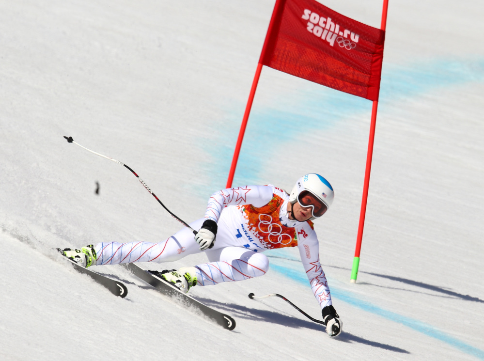 United States' Julia Mancuso makes a turn in the women's super-G at the Sochi 2014 Winter Olympics.