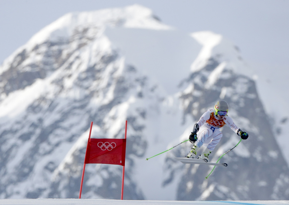 United States' Ted Ligety makes a jump in the men's super-G at the Sochi 2014 Winter Olympics Sunday.