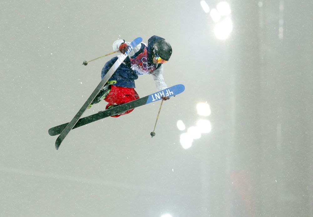 David Wise of the United States gets air during the men's ski halfpipe final at the Rosa Khutor Extreme Park, at the 2014 Winter Olympics, Tuesday, Feb. 18, 2014, in Krasnaya Polyana, Russia.