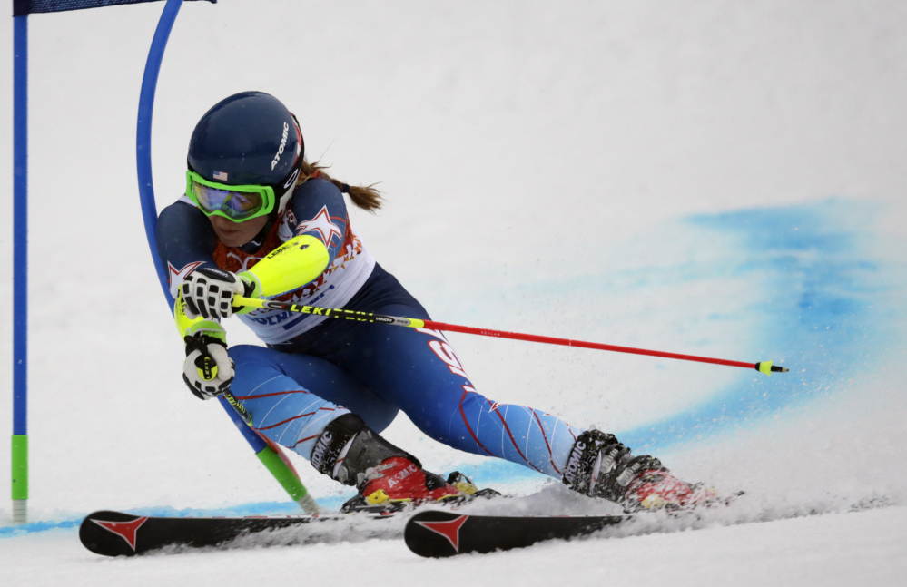 United States' Mikaela Shiffrin passes a gate in the first run of the women's giant slalom at the Sochi 2014 Winter Olympics on Tuesday.
