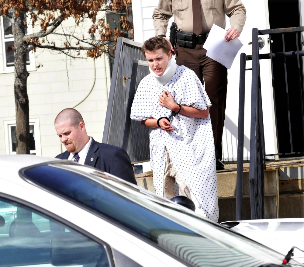 CLEARED: U.S. Border Patrol Agent Christopher Talbert, who fired shots at Zachary Wittke, pictured here in October leaving Franklin County Superior Court in Farmington, has been cleared of his use of deadly force.