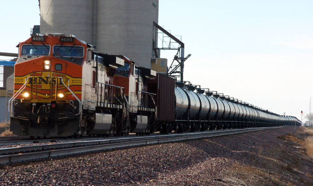 A BNSF Railway train hauls crude oil near Wolf Point, Mont., in 2013.