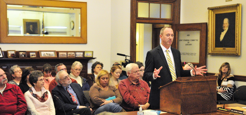"""South Portland Police Detective Sgt. Steven Webster testifies in favor during a Judiciary Committee public hearing on L.D. 1730, """"An Act To Assist Victims of Human Trafficking,"""" on Thursdayat the State House in Augusta."""