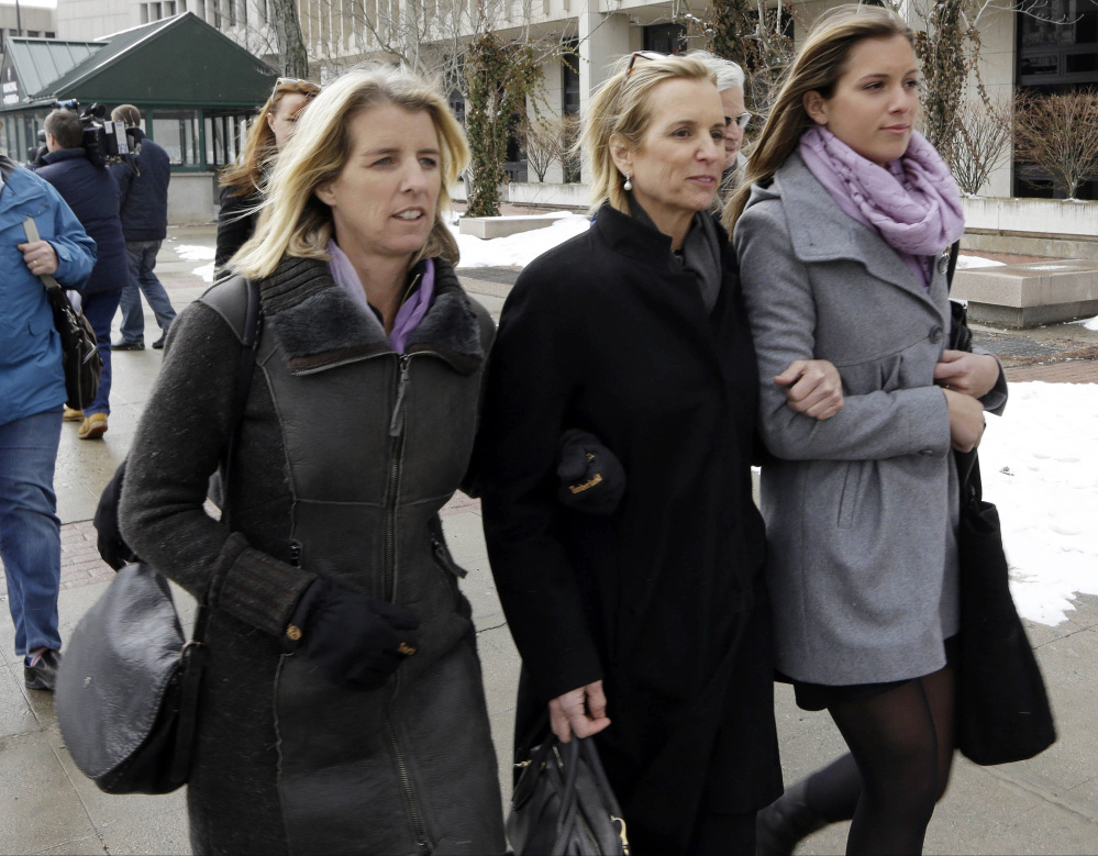 Kerry Kennedy, center, leaves Westchester County courthouse accompanied by family members Wednesday in White Plains, N.Y. Kennedy testified Wednesday that she did not knowingly take a sleeping pill on the day her Lexus swerved into a tractor-trailer on a suburban New York highway.
