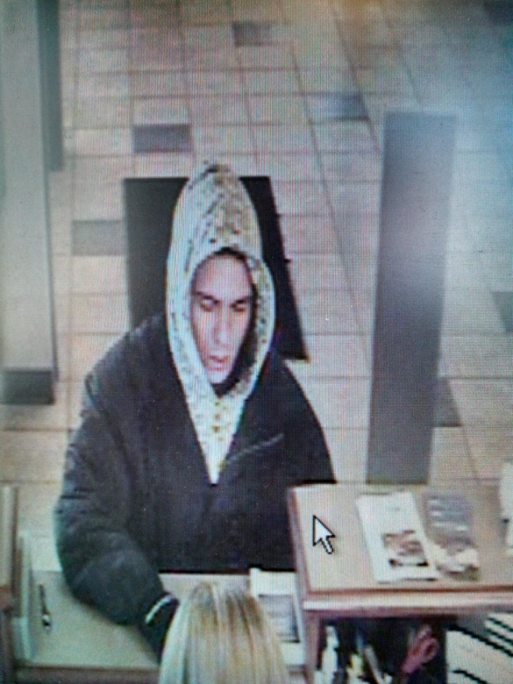 Robbery: Bank surveillance photo shows the man who robbed Bangor Savings Bank in Waterville on Friday.